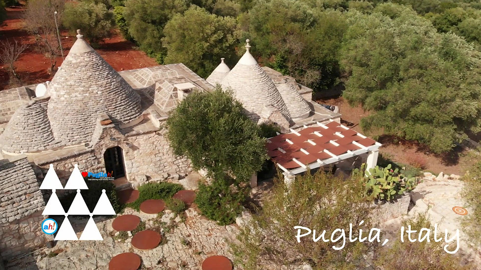 Video aerial drone tour of TrulliRoccia, Soul of Puglia, from the air.  Private rural country house retreat in Puglia Italy for rent. Trulli holidays in Puglia.  Trulli vacation home for rental. Rural retreat. Family holidays in Italy