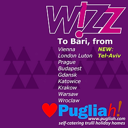 Wizz from TelAviv to Bari and all other flights to Bari