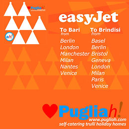Easyjet, vols pour Bari, vols pour Brindisi, vols pour les Pouilles, Ryanair Bari, Ryanair Brindisi, se rendre aux Pouilles, se rendre aux Pouilles, aéroport le plus proche des Pouilles, flights to Bari, flights to Brindisi, flights to Puglia, Easyjet Bari, Easyjet Brindisi, getting to Puglia, getting to Apulia, Puglia nearest airport