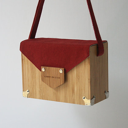 Deep Red Bamboo Box Bag