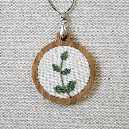 Leafy Bamboo Pendant - Moss Green