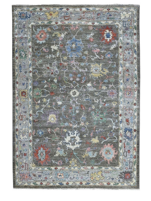 #546  Charcoal Gray Oushak Oriental Rug