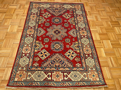 #218  Hand Knotted Red Kazak Oriental Rug,Wool Area Rug