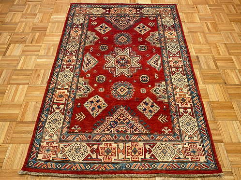#H867 New Hand Knotted Wool Kazak Area Rug, Oriental Rug