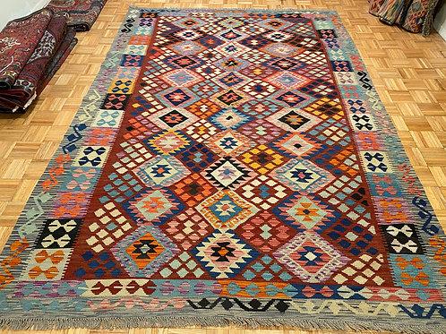 #262  Flat Weave Reversible Afghan Kilim Area Rug