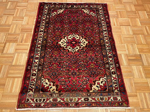 B407  Hand Knotted Red Persian Husseinabad Rug