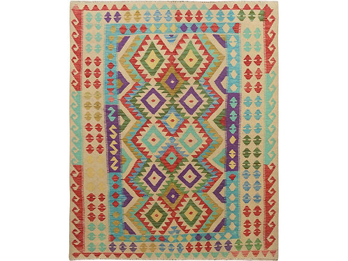 #501  Colorful Flat Weave Afghan Rug