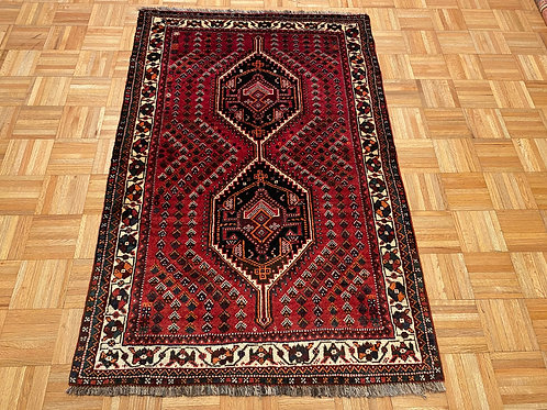 """#123   3'6"""" x 5'2'  Hand Knotted Persian Shiraz Area Rug"""