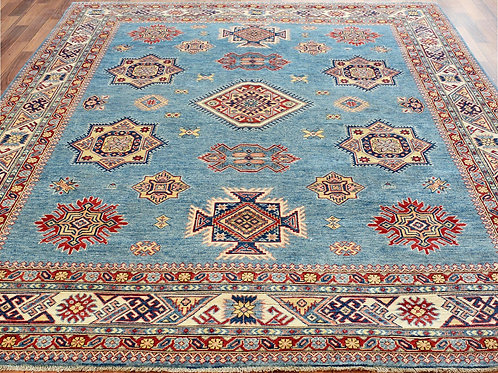 #522  Hand Knotted Blue Geometric Kazak
