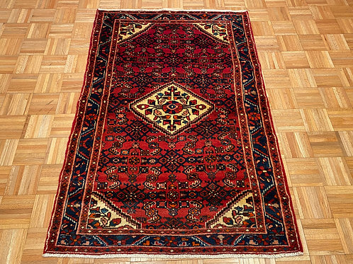 B502  Hand Knotted Red Persian Husseinabad Rug