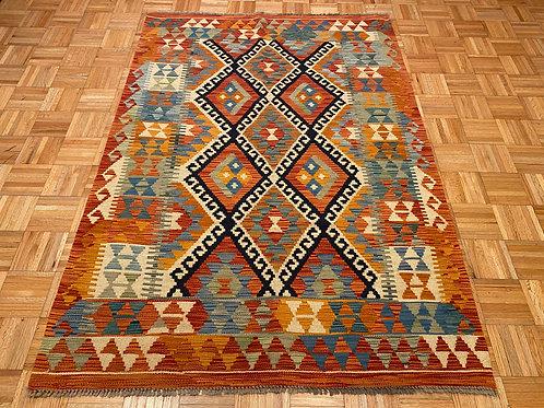 #252 Flat Weave Reversible Afghan Kilim Rug, Wool Oriental Rug