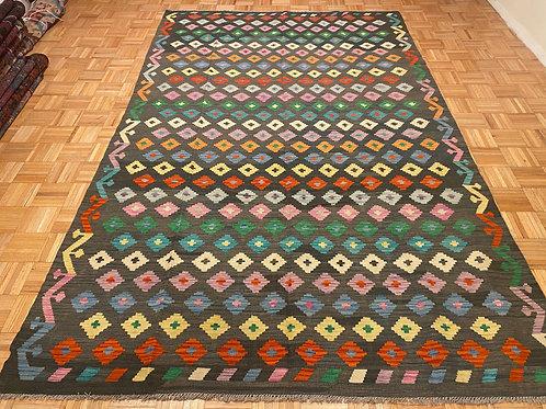 #303  New Flat Weave Reversible Afghan Wool Kilim Area Rug
