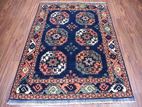#555  Hand Knotted Navy Ersary Tribal  Oriental Rug
