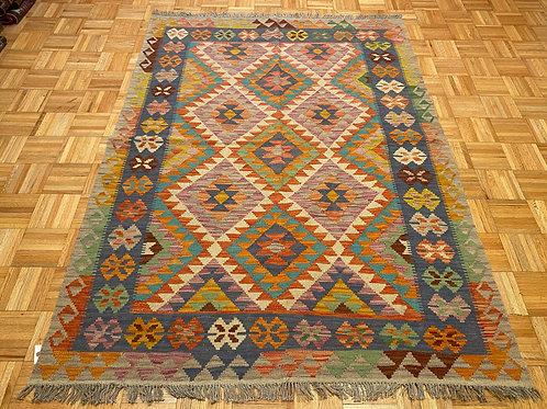 #247 Flat Weave Reversible Afghan Kilim Rug, Wool Oriental Rug