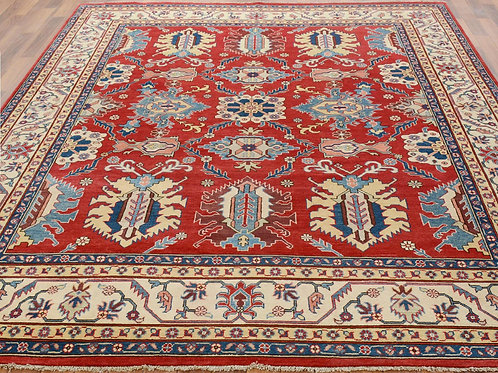 #504   Hand Knotted Red Kazak Area Rug