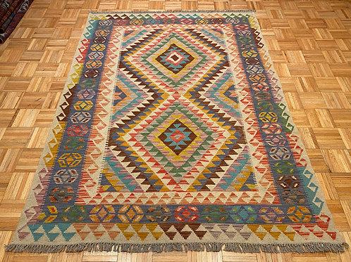 #251  Flat Weave Reversible Wool  Afghan Kilim Area Rug