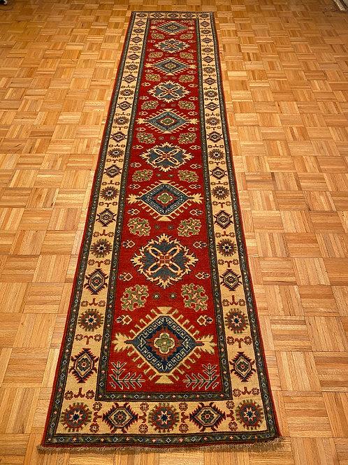 #220  Hand Knotted Red Kazak Runner, Wool Oriental Runner Rug
