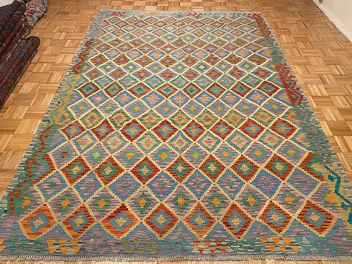 #135  New Flat Weave Reversible Afghan Kilim Rug, Wool Oriental Rug