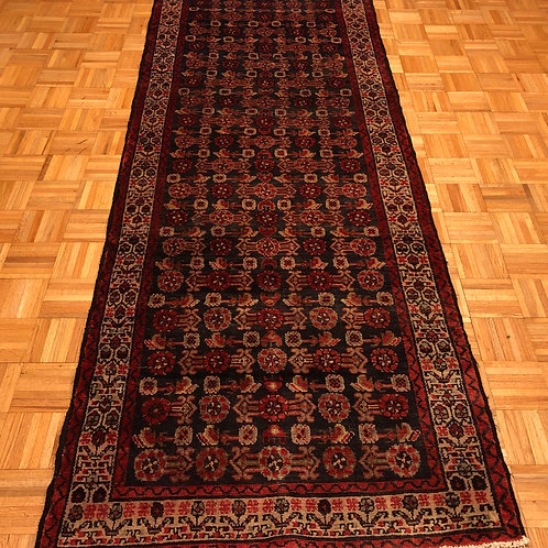 #35  Charcoal Hand Knotted Persian Hamedan Runner Rug