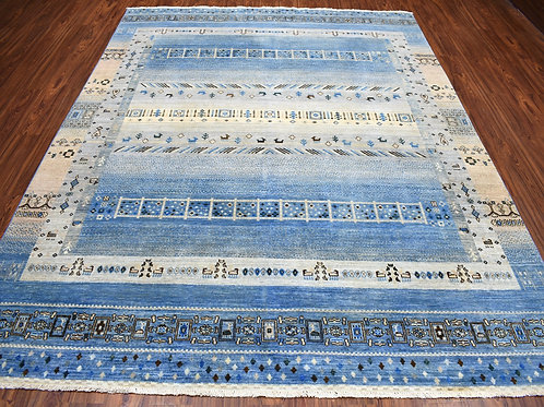 #525   Hand Knotted Blue Wool Gabbeh Rug