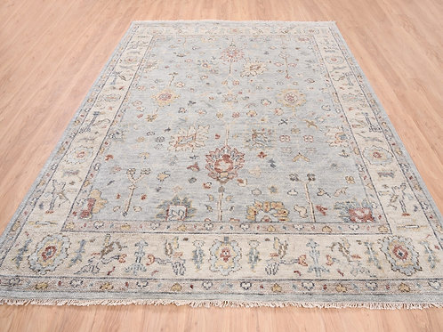 #570  Hand Knotted Silver Gray Oushak Oriental Rug