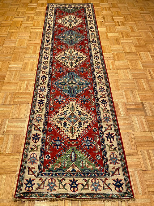 #222  Hand Knotted Red Geometric Runner , Wool Oriental Runner