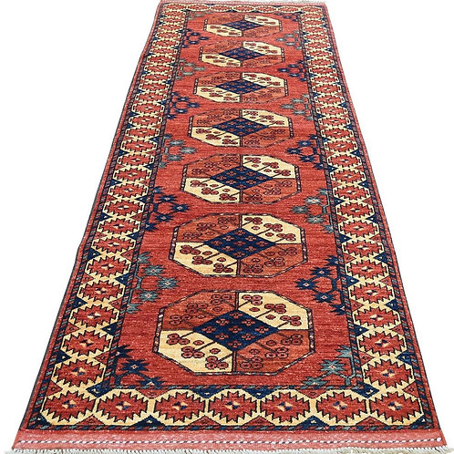 #514  Hand Knotted Elephant Foot Ersary Runner Rug
