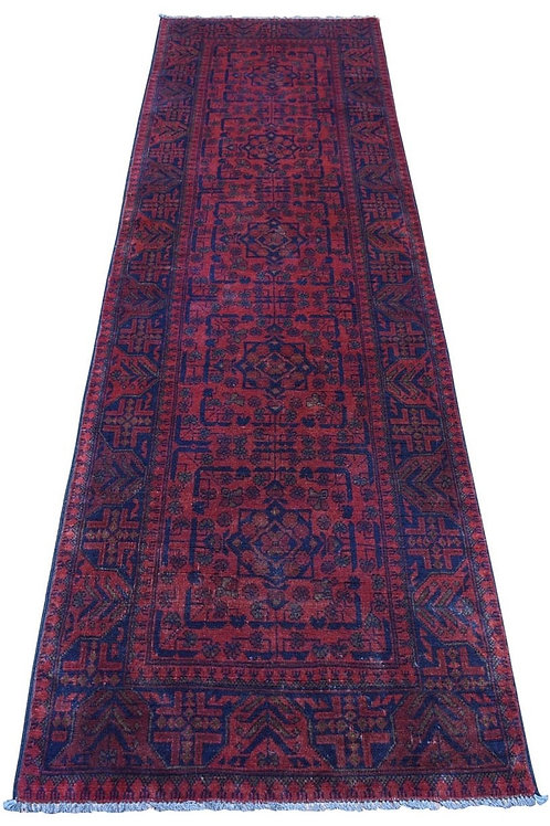 #509  Hand Knotted Afghan Runner