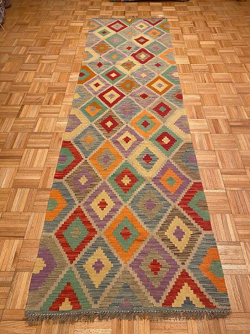 #132K  New Flat Weave 100% Afghan Kilim Runner Rug