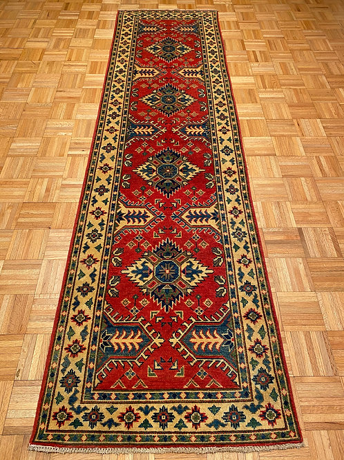 K259  Hand Knotted Geometric Red Kazak Runner Rug
