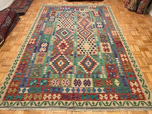 #263   Flat Weave Reversible Wool Afghan Kilim Rug