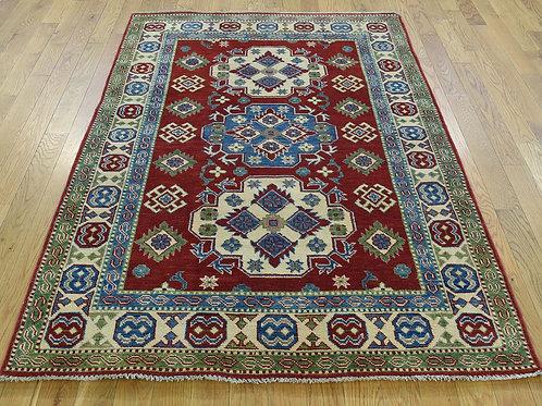 #553  Hand Knotted Geometric Red Kazak Oriental Rug, Tribal Rug