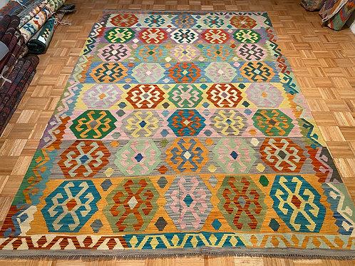 #278 New Flat Weave Reversible Wool Afghan Kilim Rug