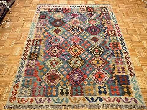 #K269  New Flat Weave Reversible Afghan Kilim Rug