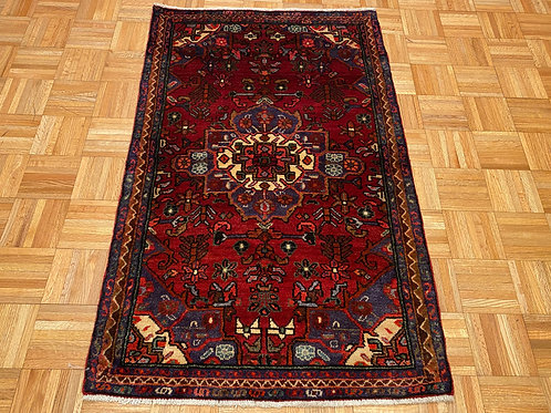 #241  Hand Knotted Persian Hamedan , 3 x 5 Wool Oriental Rug
