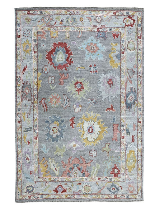 #544   Hand Knotted Gray Oushak Area Rug