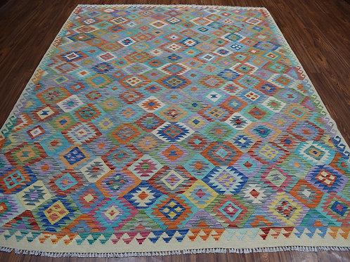 #468  Hand Woven Wool Afghan Kilim Rug