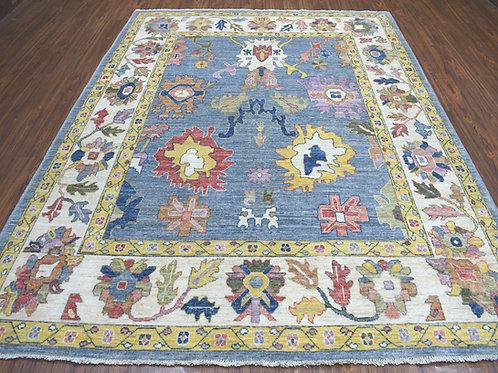 #475  Hand Knotted Blue Oushak Rug