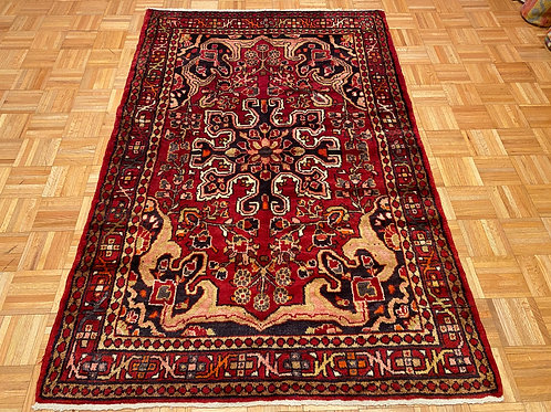 B5019 Hand Knotted Red Persian Husseinabad Area Rug