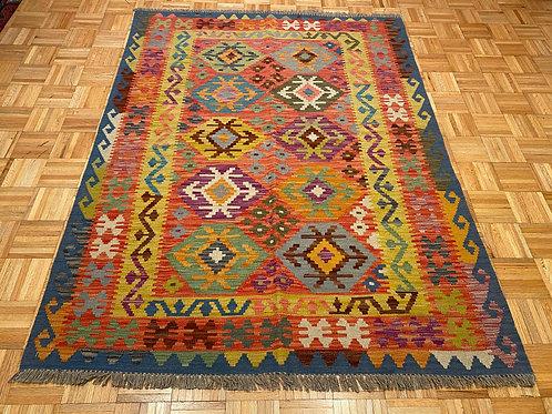 #254  Flat Weave Reversible Afghan Kilim Rug, Wool Oriental Rug
