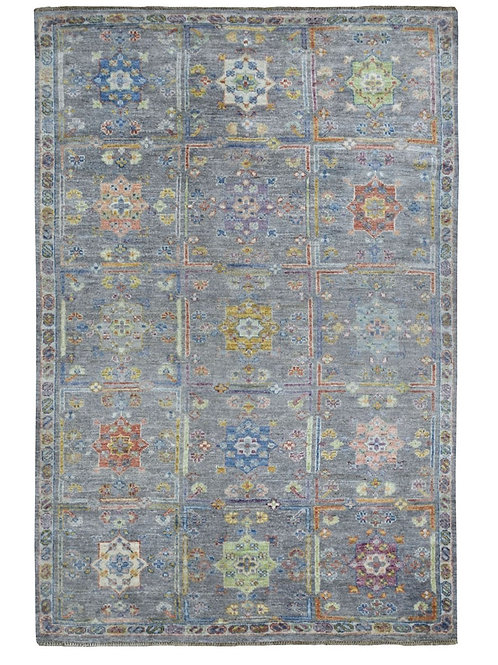 #543  Hand Knotted Gray Box Design Area Rug