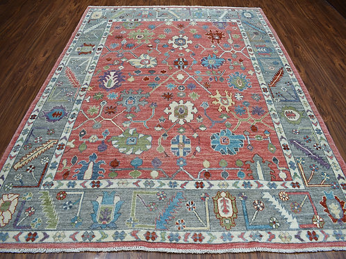 #467  Hand Knotted Coral Oushak Rug