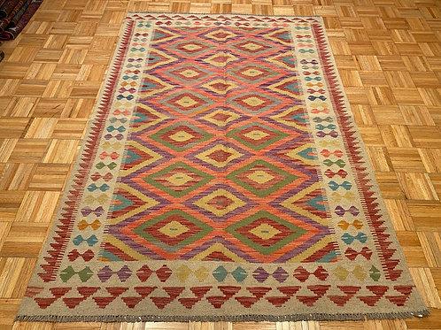 #249   Flat Weave Reversible Afghan Kilim Rug, Wool Oriental Rug