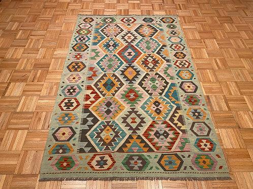 #122  New Flat Weave Reversible Afghan Kilim Rug, Wool Area Rug