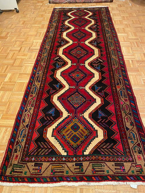 #BAX2  Hand Knotted Geometric Persian Runner Rug