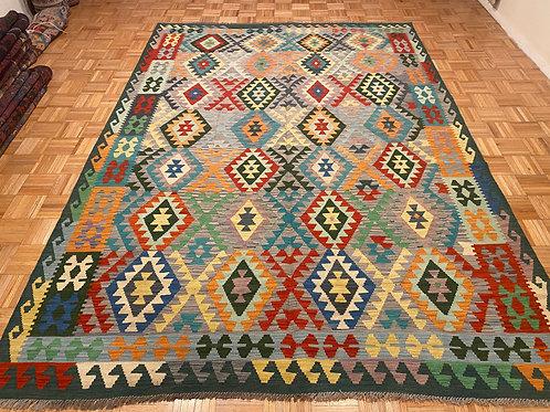 #379  Flat Weave Reversible Afghan Kilim Rug, Wool Oriental Rug
