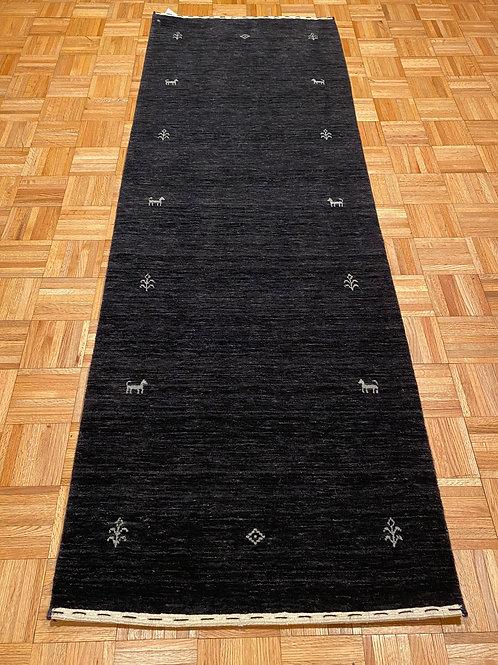 #229  Navy Modern Gabbeh Runner  Rug, Wool Oriental Runner