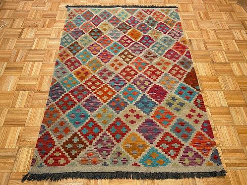 #268  Flat Weave Reversible Afghan Kilim Rug, Wool Oriental Rug