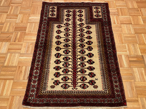 #238 Hand Knotted Persian Turkomen Area Rug, Wool Oriental Rug