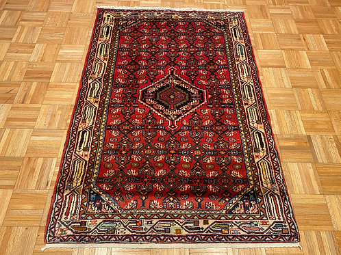 #B380  Hand Knotted Red Persian Hamedan Rug